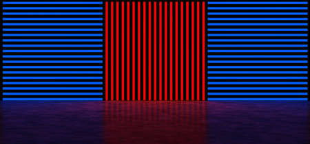 Glowing vertical and horizontal stripes of red and blue color. Abstract glowing background made up of multi-colored stripes. Glowing wall. 3D Render
