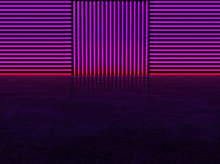Glowing vertical and horizontal stripes of purple. Abstract glowing background of stripes. Glowing pink wall. 3D visualization