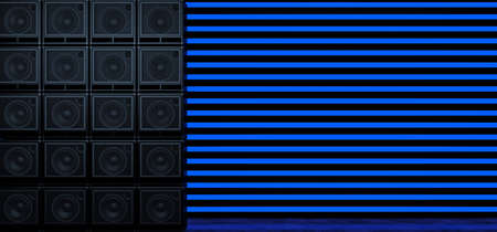 A wall of guitar amplifiers against a background of horizontal blue glowing stripes. Background of the luminous bands and guitar amplifiers. 3D Illustration Standard-Bild