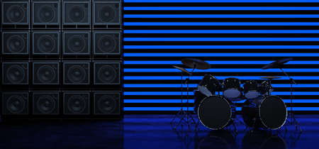The drum kit stands between two walls of guitar amplifiers against a background of horizontal blue glowing bands. Scene with drum kit and guitar amps. 3D Rendery