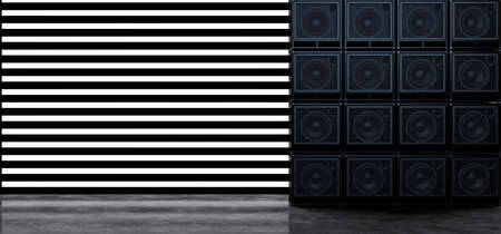 A wall of guitar amplifiers against a background of horizontal white glowing stripes. Background of the luminous bands and guitar amplifiers. 3D Illustration