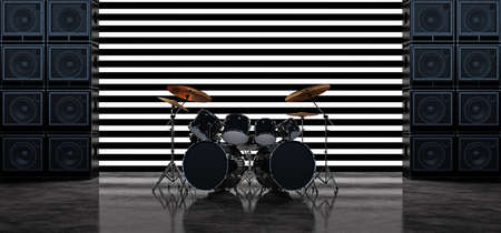 The drum kit stands between two walls of guitar amplifiers against a background of horizontal white glowing bands. Scene with drum kit and guitar amps. 3D Rendery