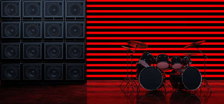 The drum kit stands between two walls of guitar amplifiers against a background of horizontal red glowing bands. Scene with drum kit and guitar amps. 3D Rendery Standard-Bild