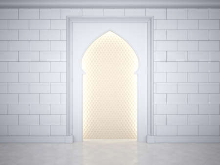 A niche in the Arab style, with a pattern inside illuminated around the perimeter. Wall with arch in islamic, muslim, arabic style. 3D Render