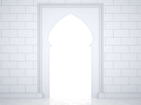 Glowing portal in the Arab style. Wall with arch in islamic, muslim, arabic style. Glowing portal. 3D Render,