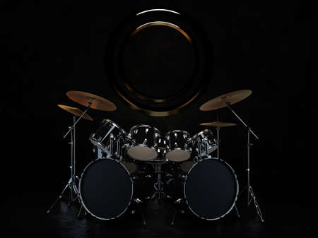 The drum kit is in a dark room, with a bronze decoration hanging on the wall behind the drum kit. 3D rendering. 3D Render.