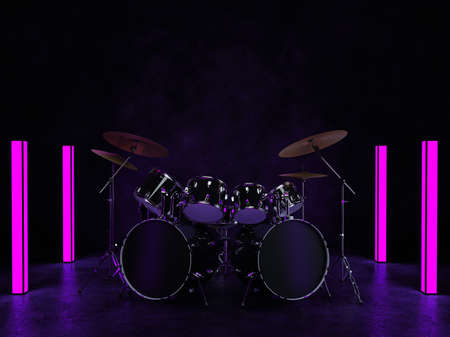 The drum kit stands in a dark room and is illuminated by neon lights that stand around it. 3D render. Standard-Bild
