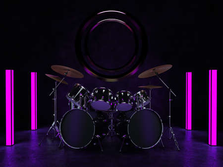 The drum kit stands in a dark room and is illuminated by neon lights. A bronze decoration hangs on the wall behind the drum kit. 3D render.