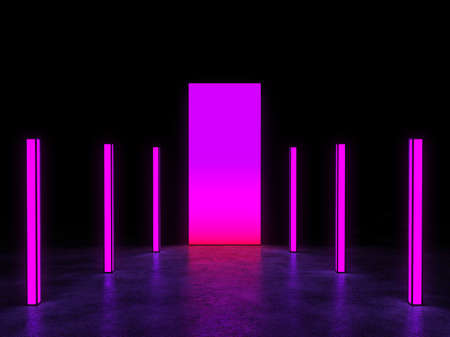 The glowing portal is surrounded by neon lights in a dark space. 3D Render.