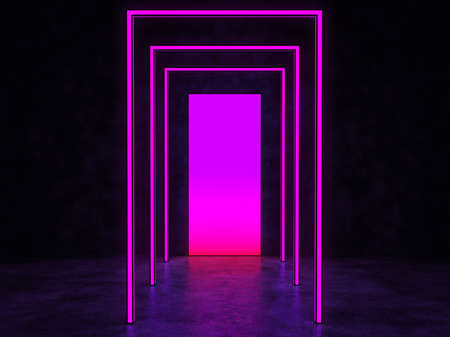A glowing purple portal in a dark space. Reflected in a glossy floor. 3D Render.