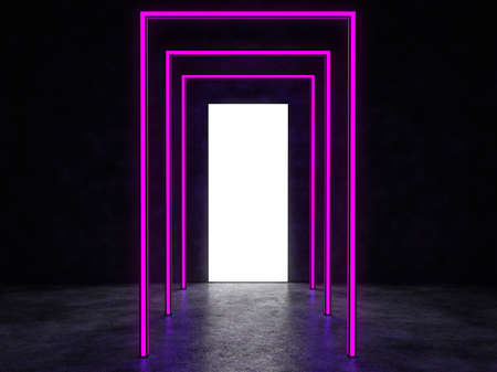 A glowing white portal and neon lights in a dark space. Reflected in a glossy floor. 3D Render. Standard-Bild