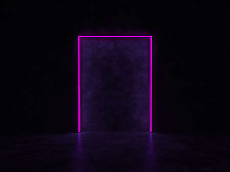 A glowing portal in a dark space. A glowing abstract rectangle of purple color. 3D render. Standard-Bild