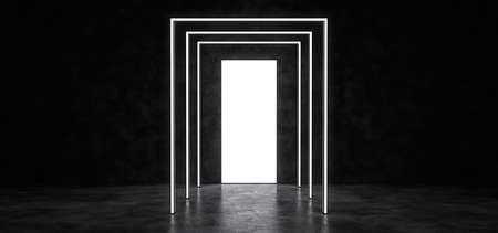 A glowing portal in a dark space. Reflected in a glossy floor. 3D Render. Standard-Bild