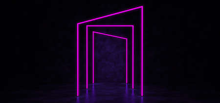 Glowing neon lines of different shapes form a corridor. Abstract glowing lines in dark space. 3D Render. Standard-Bild