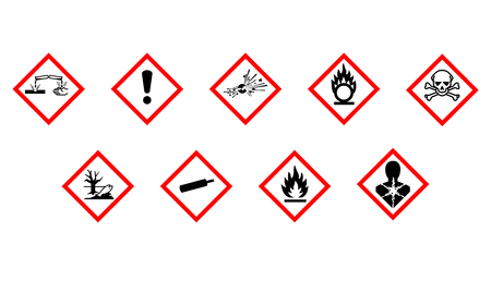 Labeling of chemical hazards Stock Illustratie