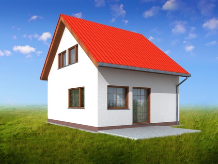 Simple 3d render of a house in perspective  Green grass and blue sky background   Stock Photo