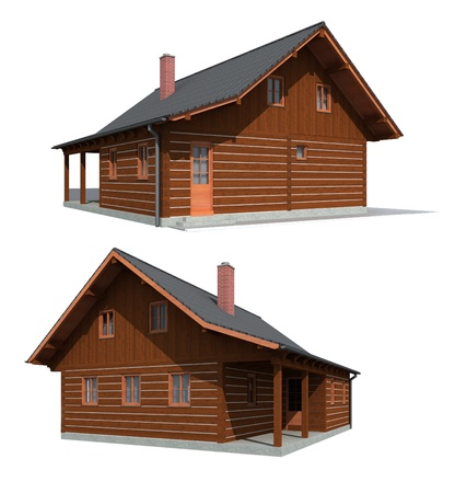 Timber wood house, Two perspectives on the timber house on the white background