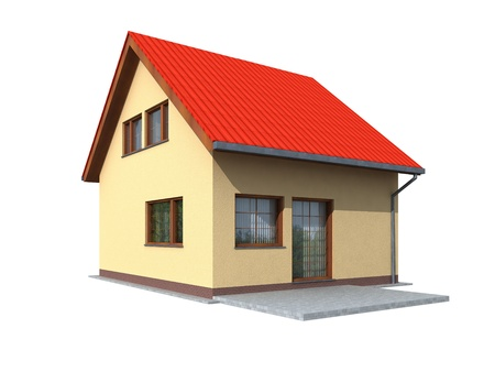 Simple 3d render of house in perspective on a white background