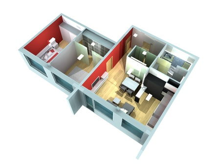 3D rendering of a roofless architecture model showing an apartment interior fully furnished photo