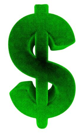 Grass dollar sign in perspective on the white background
