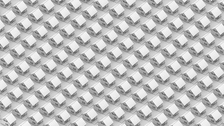 直交投影ビューの黒い線のエッジ テクスチャで白い家のレンダリングします。 写真素材