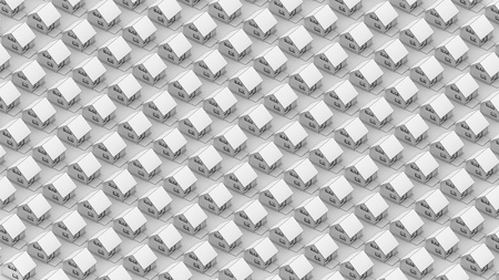 Render of the white houses in orthographic view  Black line edges  Texture
