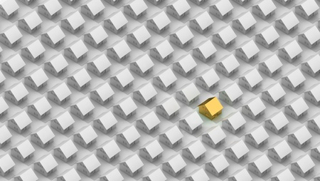 orthographic: Render of a gold house between the silver houses in orthographic view