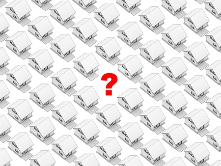 orthographic: Render of the white houses in orthographic view with a question mark on the spot of one of them  White background