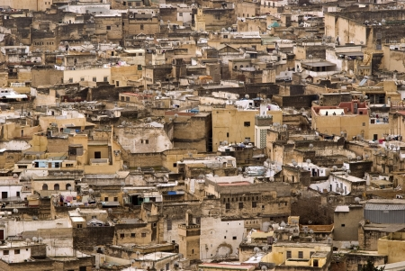 poorness: Roofs of the historic city of Fes - detail