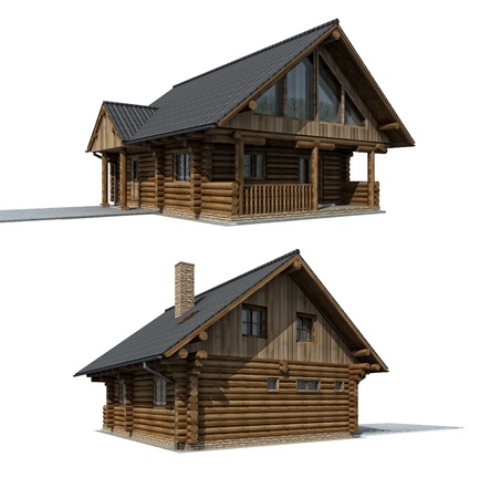 나무 CABINE - 흰색 배경에 오두막 집에 코, 두 가지 관점 스톡 콘텐츠