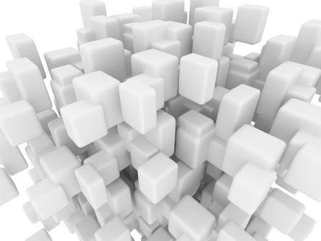 平滑化されたキューブ、3 d から抽象的な幾何学図形の描画します。 写真素材
