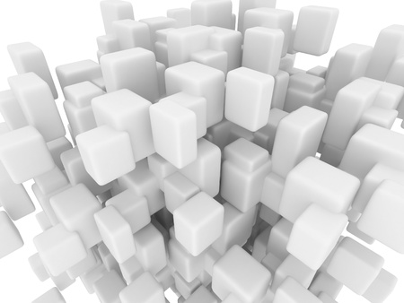 digitally concepts: Abstract geometric shapes from smoothed cubes, 3d render