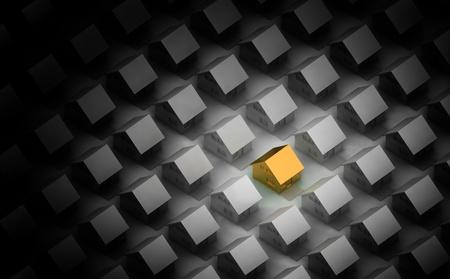 빛에 의해 악센트 직교 뷰에서 실버 주택 사이의 황금 집의 렌더링