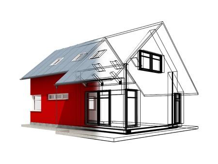 ブラック ・ プロジェクト linesCategory 民間建築工事 HouseConceptual カテゴリ ビジネス ビジネス産業建設住宅の半透明の 3 d レンダリングします。 写真素材