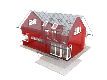 architecture model: Semitransparent 3d render of house in upper perspective on a white background