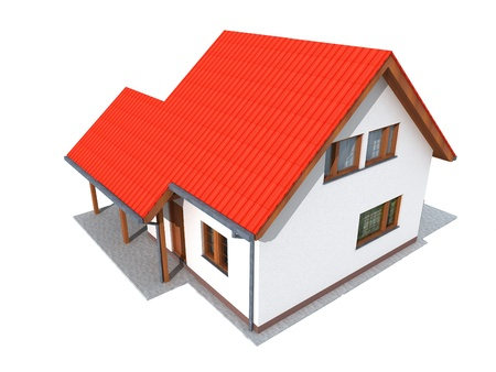 Simple 3d render of house in upper perspective Stock Photo - 12923178