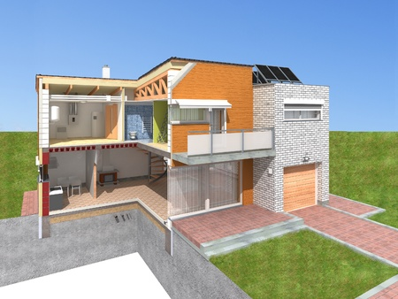 Detailed rendering of a modern house in the section Stock Photo