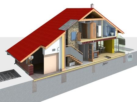 セクションでは、伝統的な家の詳細なレンダリング