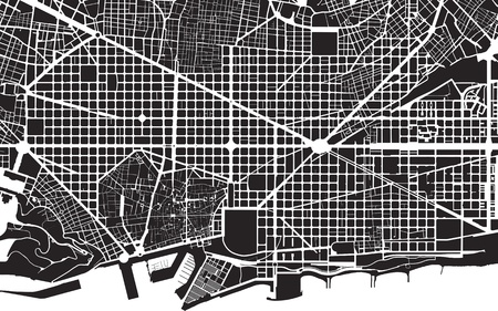 barcelona spain: Part of urban plan of a city of Barcelona  Black and white pattern