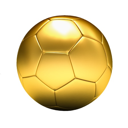 golden soccer ball isolated, white background photo