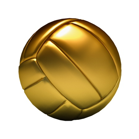 Rendering of a golden volleyball Stock Photo