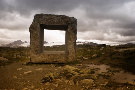 Stone artwork monument in Norway