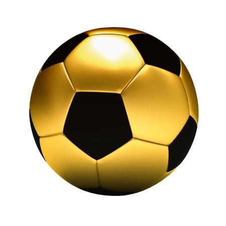 黄金のサッカー ボールの白い背景で隔離 写真素材