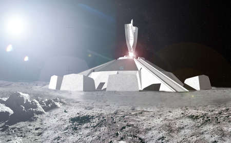 Lunar base fortress rendering, space mining  concept