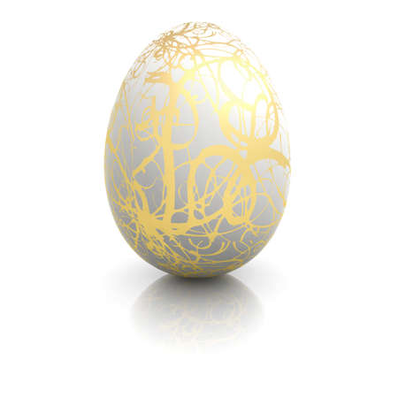 Easter egg with gold ornaments Stock Photo
