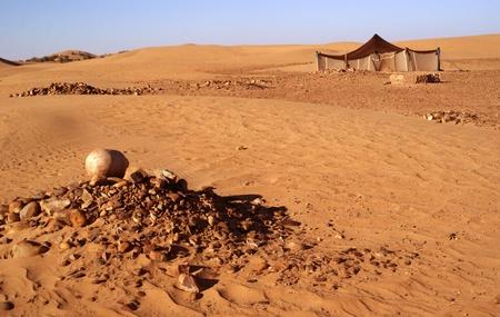 サハラ砂漠でベルベルのテント