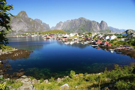 Fishing village of Rein with traditional fishermen Stock Photo