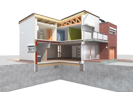 Detailed rendering of a modern house in the section on white background
