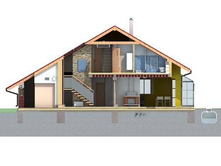 흰색 배경 렌더링에 투구 지붕 집의 전면 및 단면도