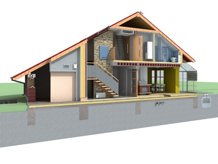 Rendered perspective view of a house in the section with pitched roof on white background